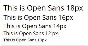 Font size Open Sans